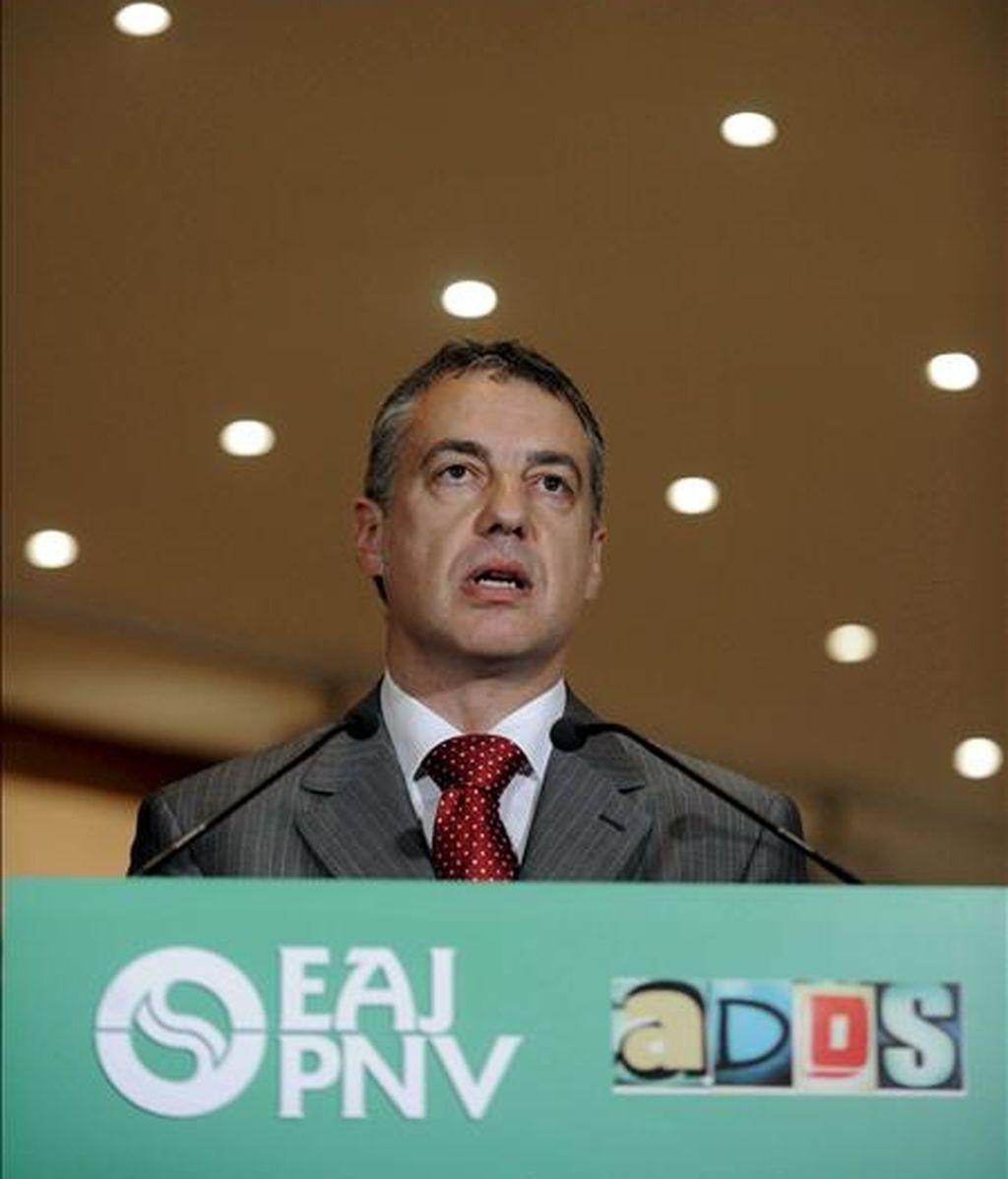 El presidente del PNV, Íñigo Urkullu, interviene en el acto de conmemoración del 115 aniversario de la fundación de su partido. EFE