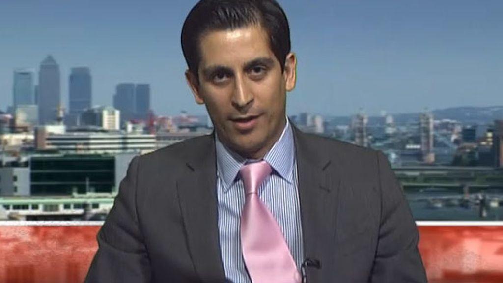 Alessio Rastani, durant un momento de la entrevista en la BBC.