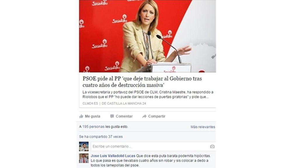 """Un alcalde de Cuenca llama """"puta barata podemita"""" a la portavoz del PSOE de C-LM"""