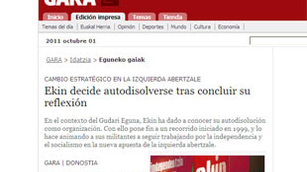 Dos miembros de la última dirección de Ekin han anunciado la disolución de la estructura del aparato político de ETA. Foto: Gara.