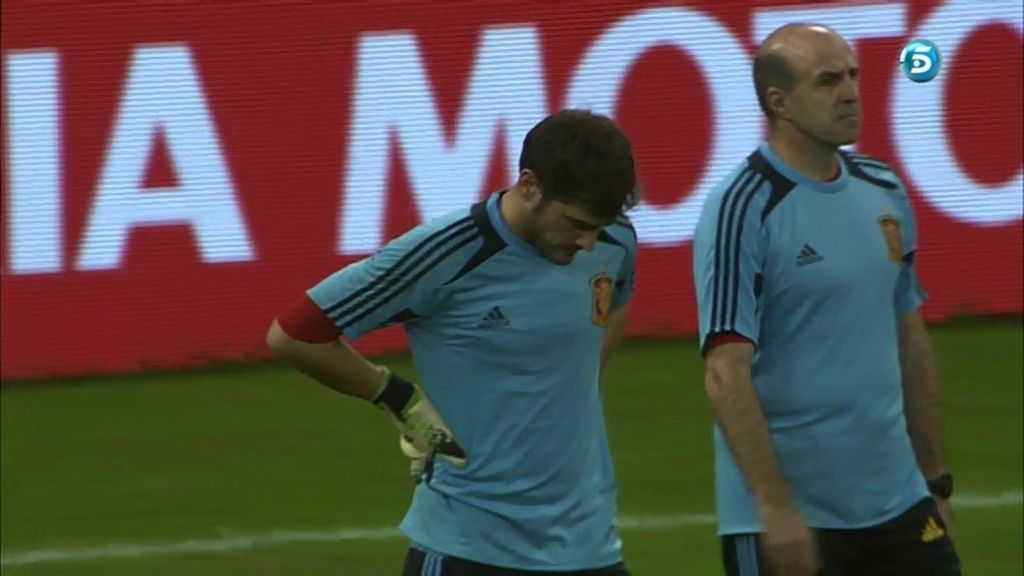 Casillas, en el entrenamiento previo al partido