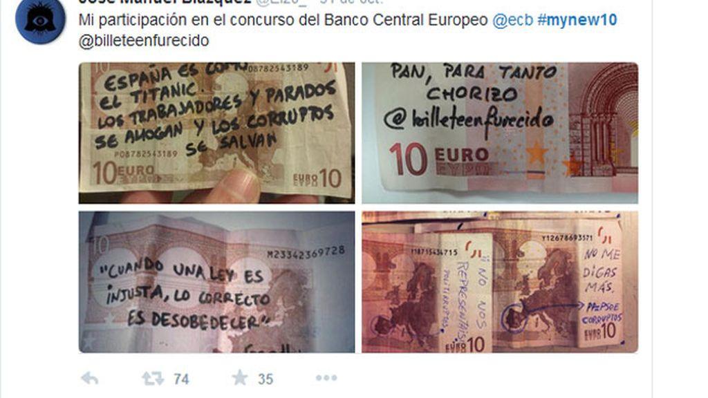 BCE,concurso billete 10 euros,mofa en Twitter,Twitter,#mynew10,BCE concurso de selfies