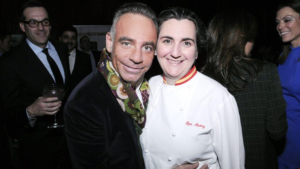 Joaquín Torres y la chef encargada de la cena en A-Cero-In, Pepa Muñoz