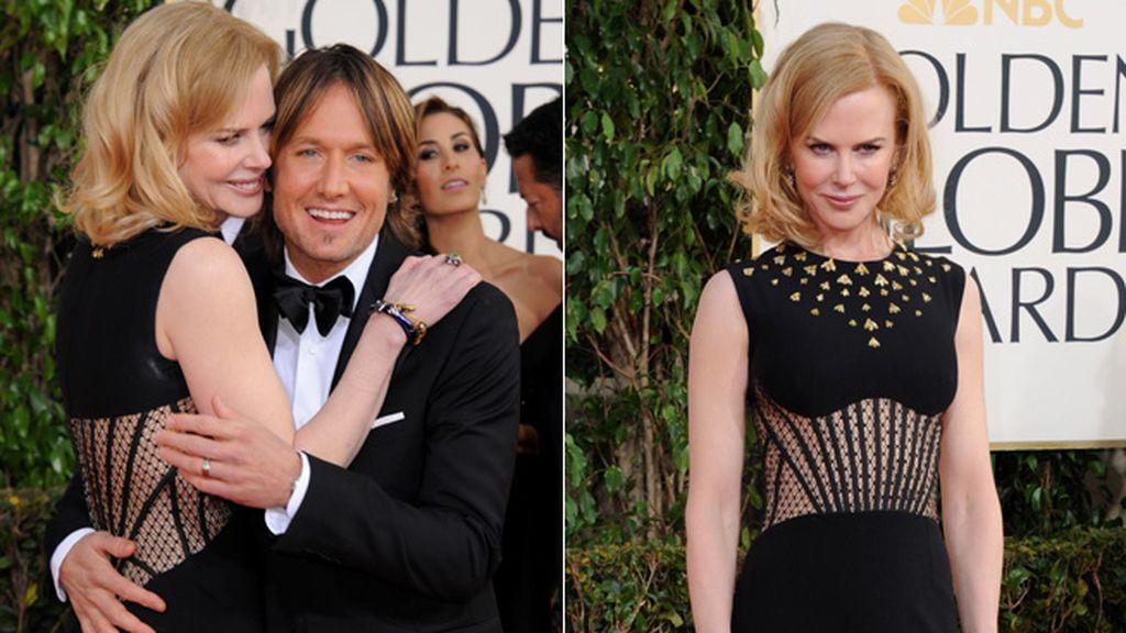 Nicole Kidman posó de espaldas abrazando a su marido, Keith Urban, nominado a la mejor canción