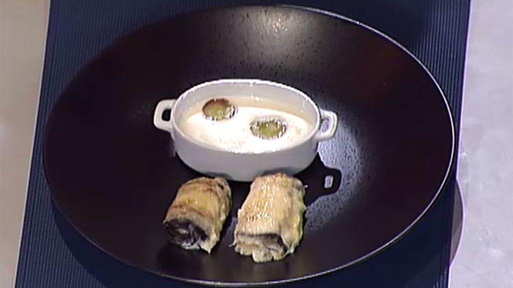 Rollitos de berenjena con ajoblanco