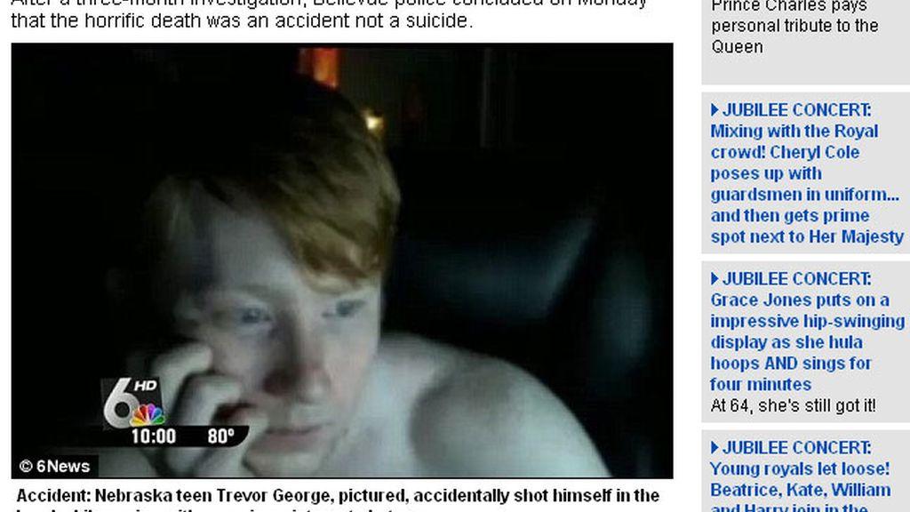 Trevor George, de 19 años de edad, se disparó ante sus amigos en un chat