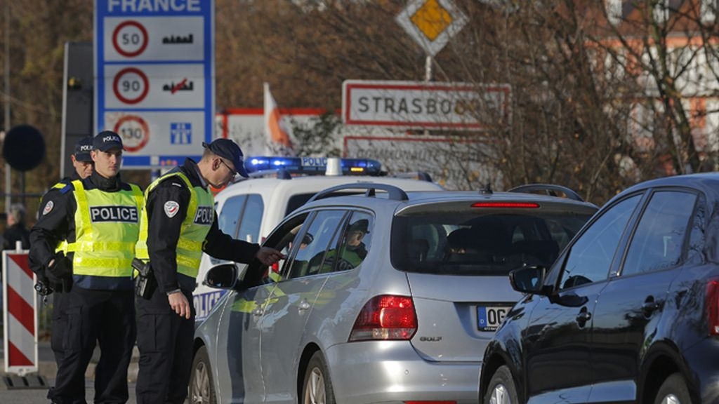Control policial en la fontera francesa de Estrasburgo