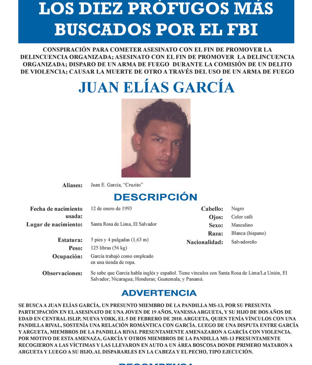 El salvadoreño Juan Elías García, entre los diez más buscados por el FBI