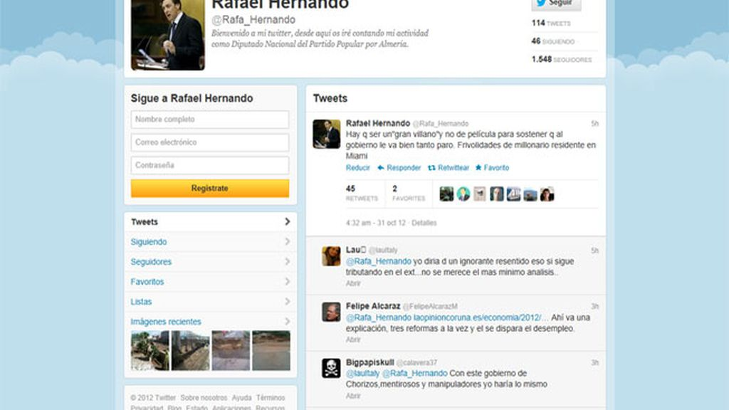 Twitter del dirigente del PP Rafael Hernando