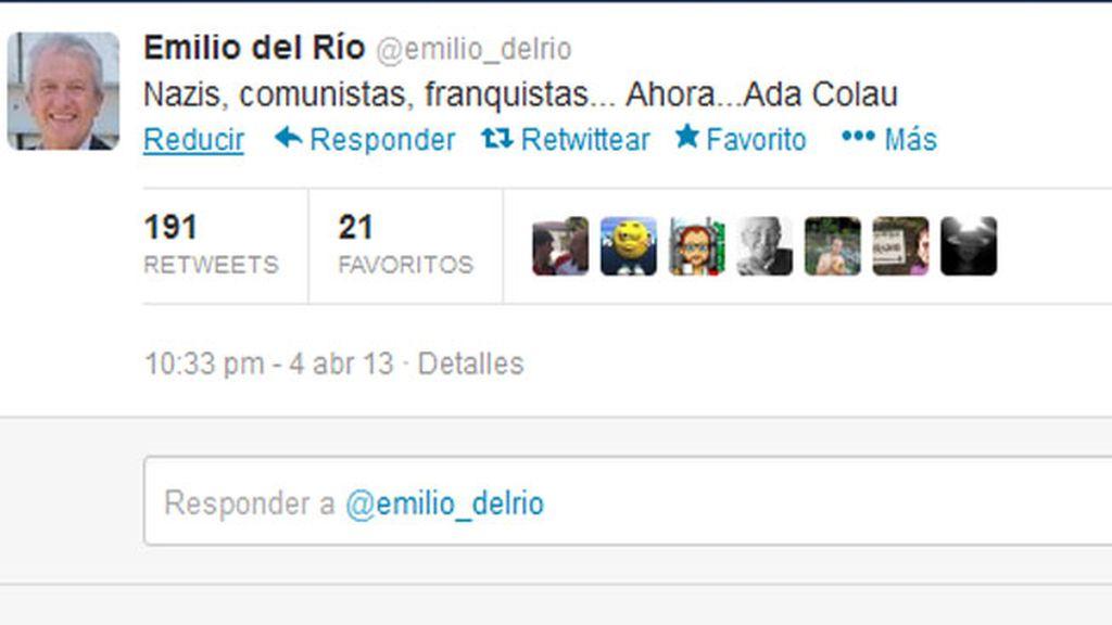 Polémico tuit contra Ada Colau