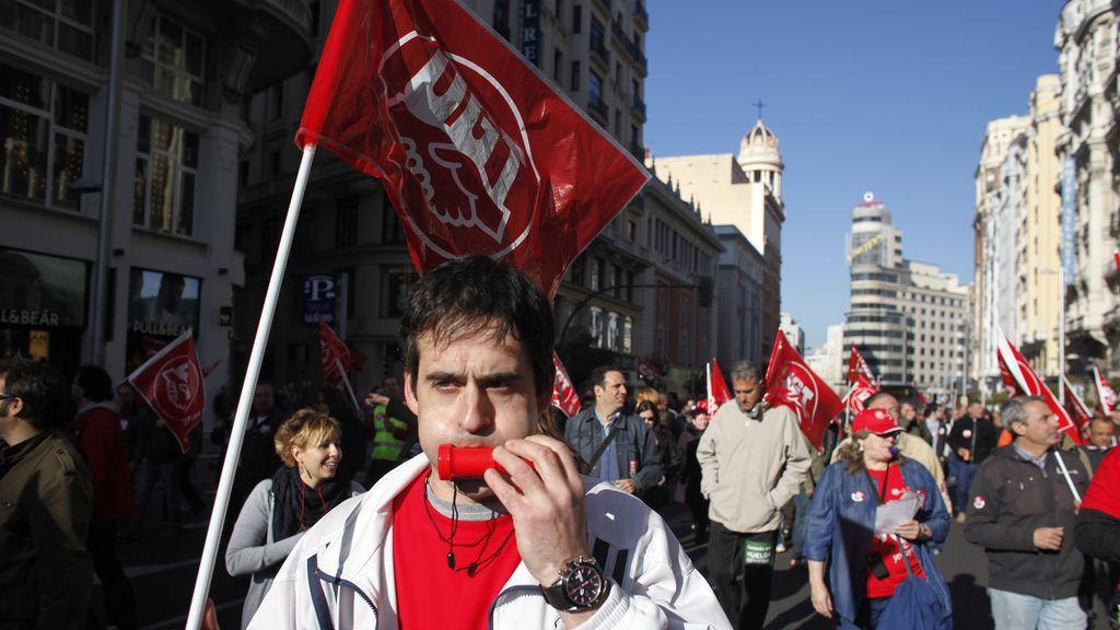 Manifestantes durante la huelga general en Madrid