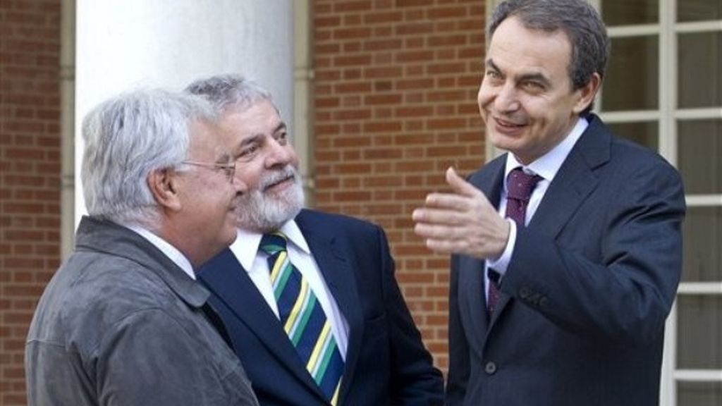 Felipe González junto a Rodríguez Zapatero y Lula da Silva en La Moncloa.
