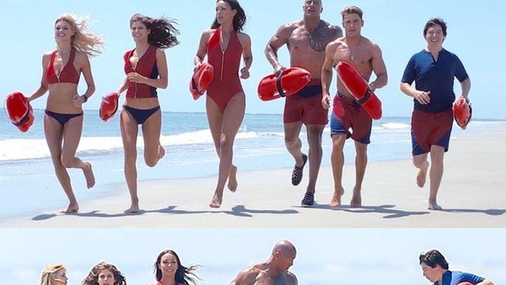 Zac Efron en el rodaje de los 'Vigilantes de la Playa'