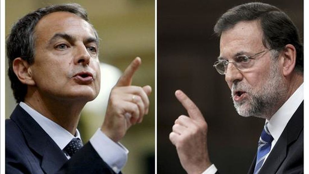 El presidente del Gobierno, José Luis Rodríguez Zapatero (i), y el presidente del PP, Maríano Rajoy, durante su respectivas intervenciones en la sesión  del debate sobre el estado de la nación, celebrada el pasado miércoles. EFE