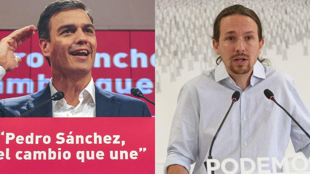 Pedro Sánchez (PSOE) y Pablo Iglesias (PODEMOS)