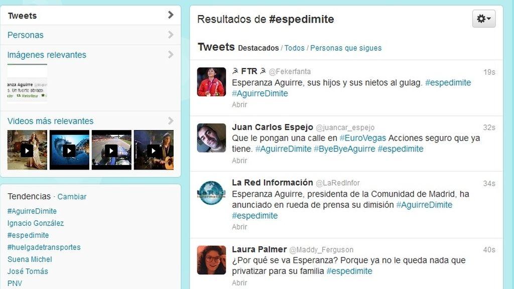 La dimisión de Aguirre en Twitter