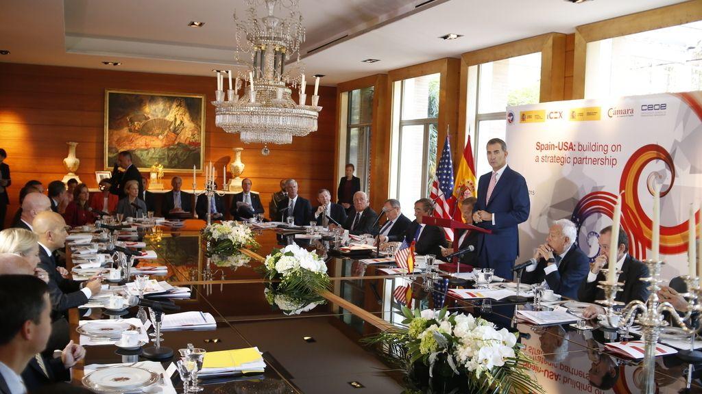 El rey Felipe VI en la reunión on empresarios estadounidenses.