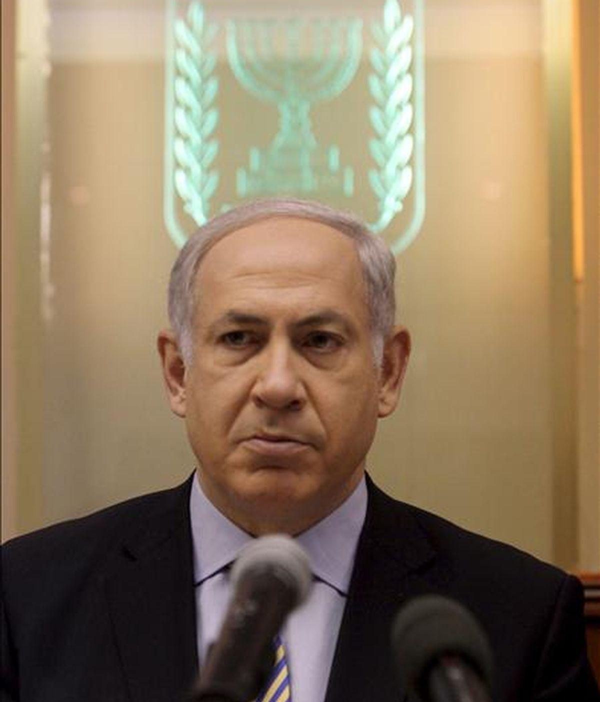 El primer ministro israelí, Benjamin Netanyahu, participa hoy en la reunión semanal de su gabinete en Jerusalén (Israel). EFE
