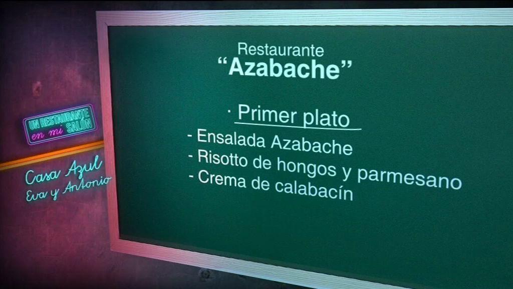 El menú del restaurante 'Azabache'