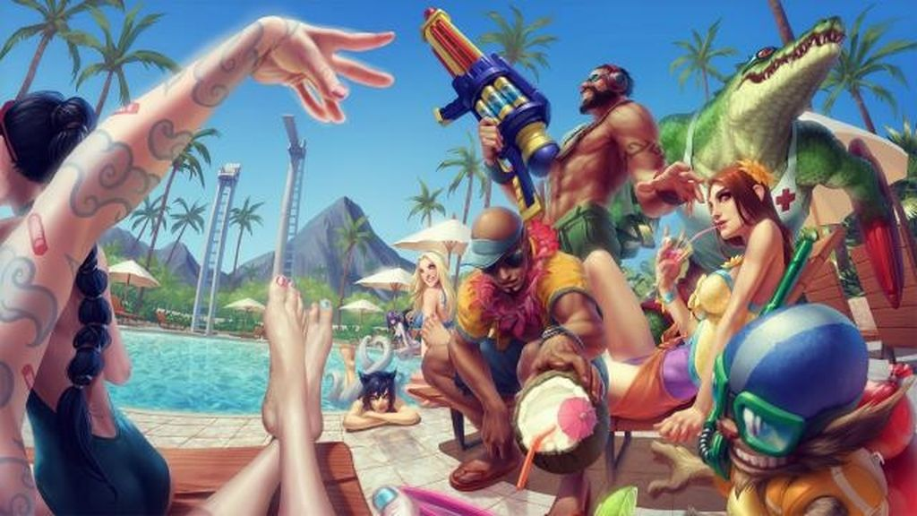 pool party, fiesta piscina, league of legends, vjuegos