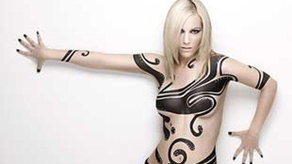 El cuerpo pintado de Edurne (Foto: Sony Music)
