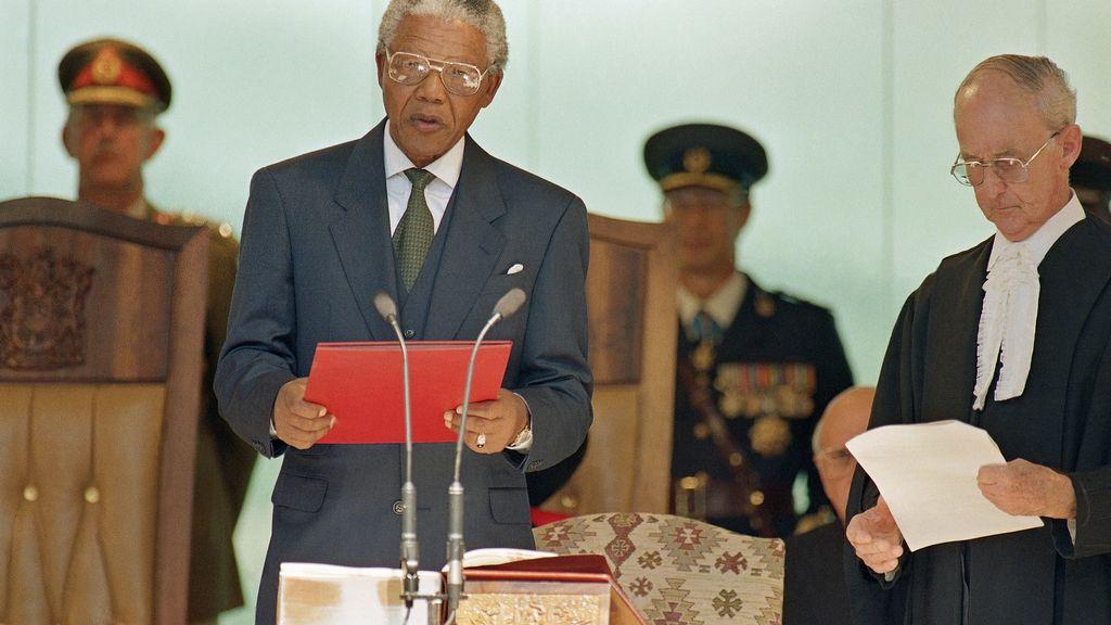 Mandela, durante su discurso de investidura como presidente en 1994