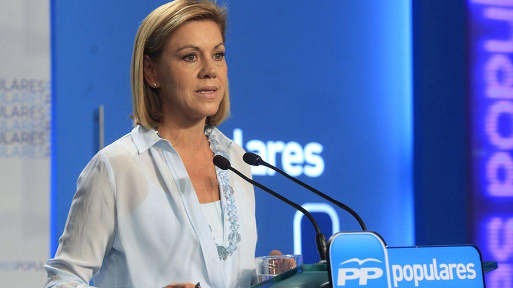 Rueda de prensa de la secretaria general del Partido Popular, María Dolores de Cospedal