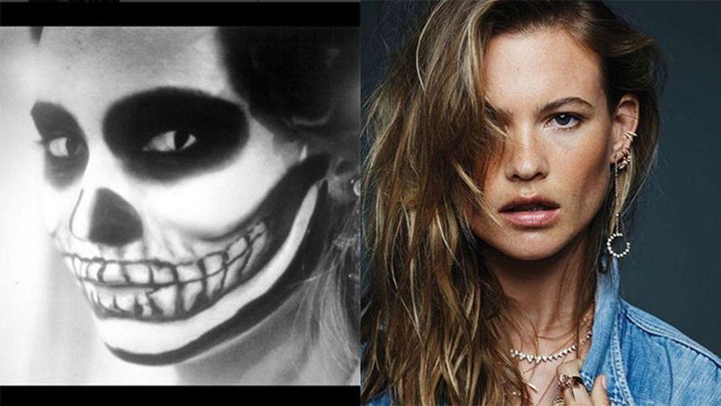 La modelo Behati Prinsloo con terrorífico maquillaje de calavera