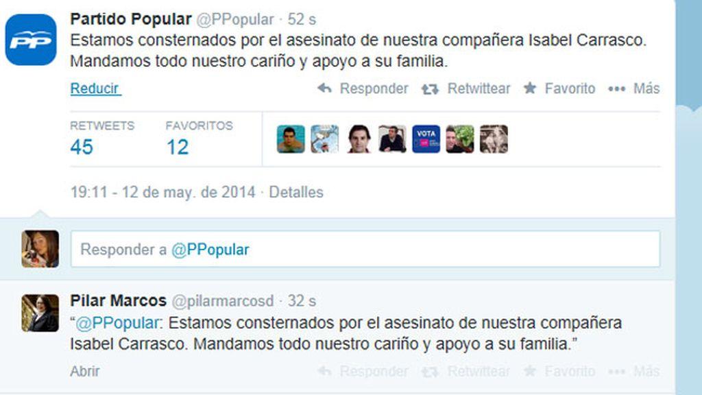 El PP 'consternado' por el asesinato de Isabel Carrasco