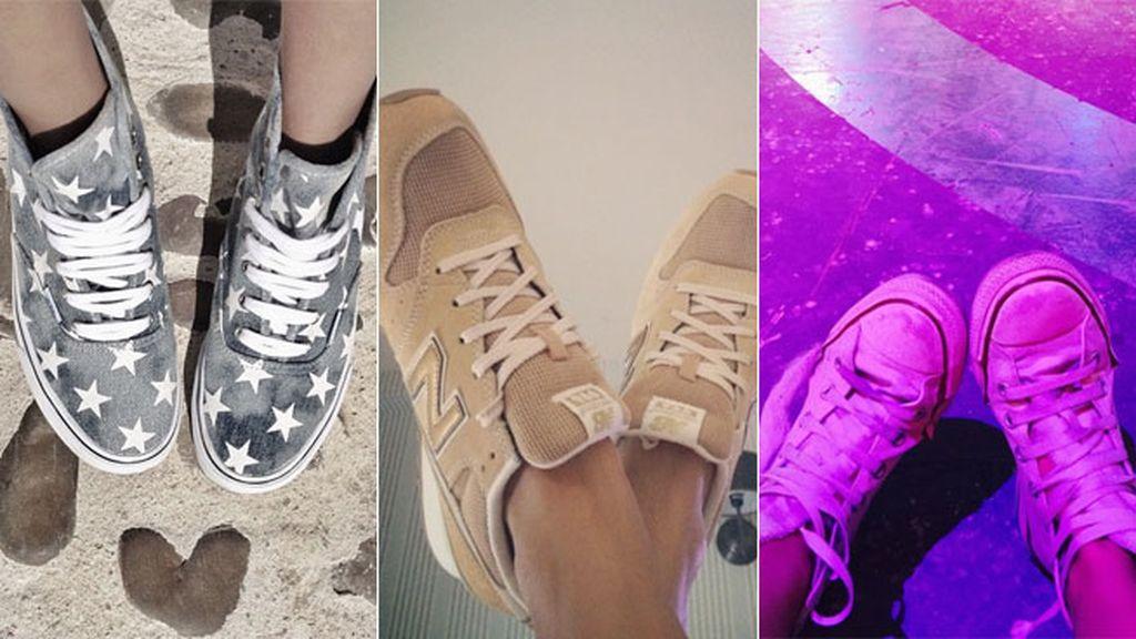 Y un clásico: las fotos de pies (y zapatillas), que nunca pasan de moda