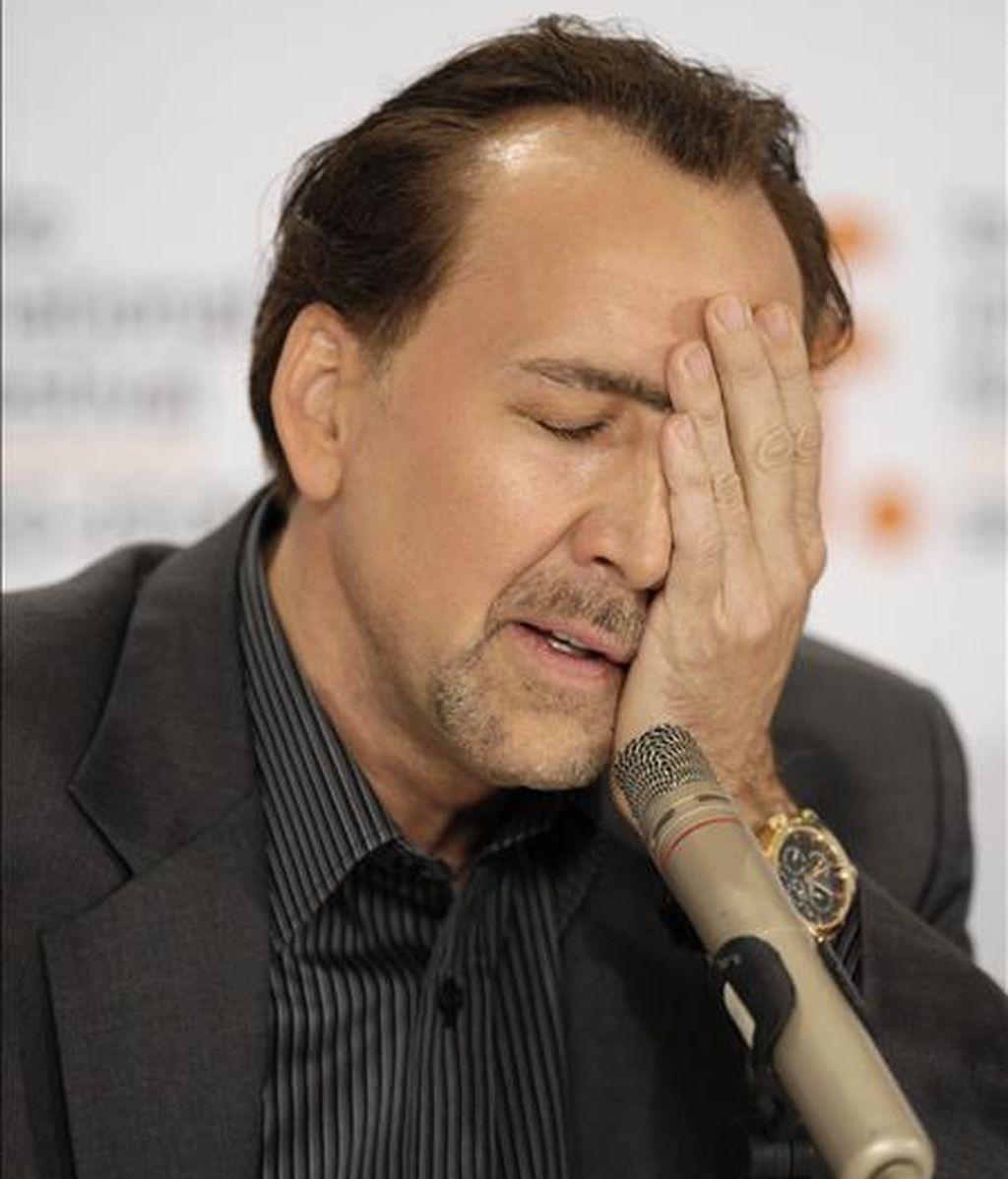 El actor estadounidense Nicolas Cage asiste a una rueda de prensa, el pasado 15 de septiembre, por su película 'Bad Lieutenant: Port of Call New Orleans', durante la edición 34 del Festival Internacional de Cine de Toronto (Canadá). EFE/Archivo