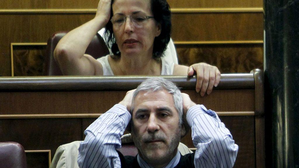 Gaspar Llamazares (IU) y Gracia Fernández Moya (PSOE) se llevan las manos a la cabeza tras escuchar a Rajoy