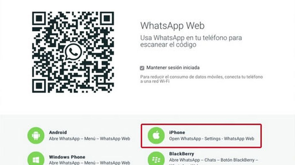 WhatsApp Web,iPhone