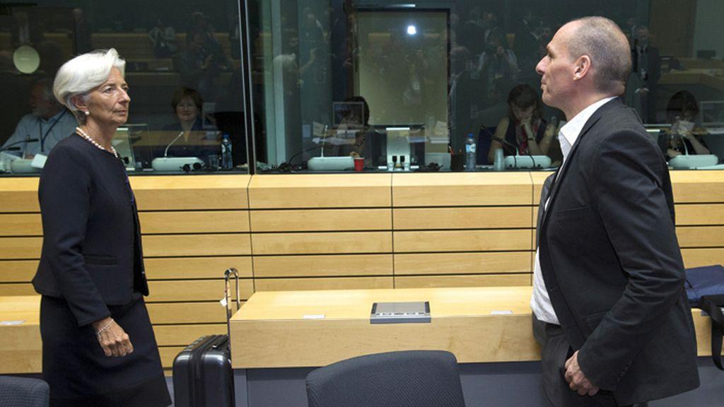 Largarde y Varufakis en la reunión del Eurogrupo