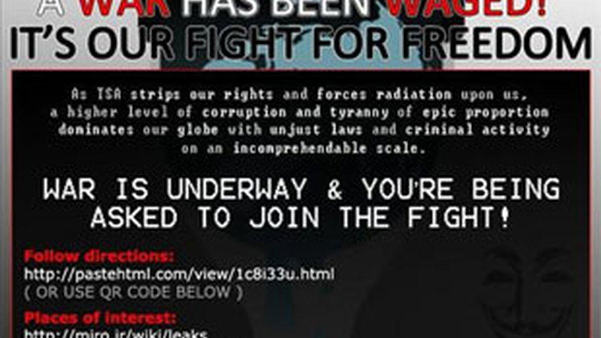 """Uno de los avisos publicados en algunos medios por los hackers de la """"Operación Vengar Assange"""". Foto: EFE."""