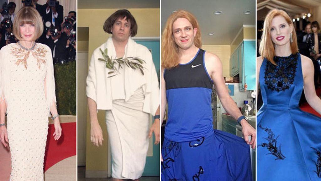 Sin miedo a Anna Wintour, copia su look y el llamativo azul klein de Jessica Chastain