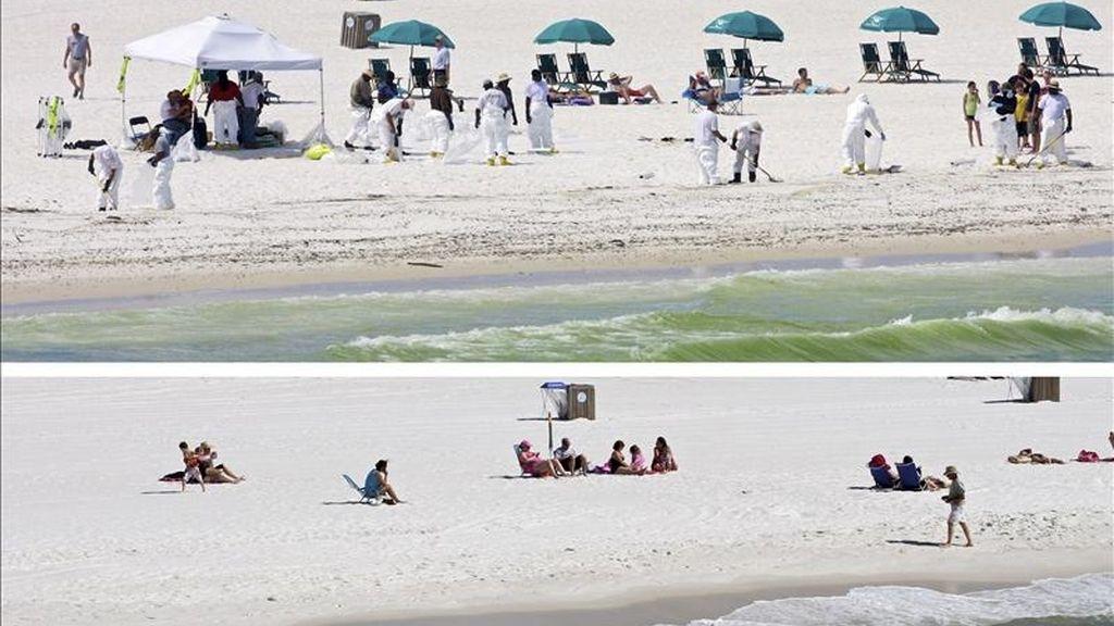 Combo facilitado que muestra a varias personas disfrutando del sol mientras trabajadores limpian la playa de Pensacola en Florioda (Estados Unidos) el 23 de junio de 2010 (arriba) y la misma playa el 16 de abril de 2011 que muestra a varias personas tomando el sol casi un año después (abajo). EFE