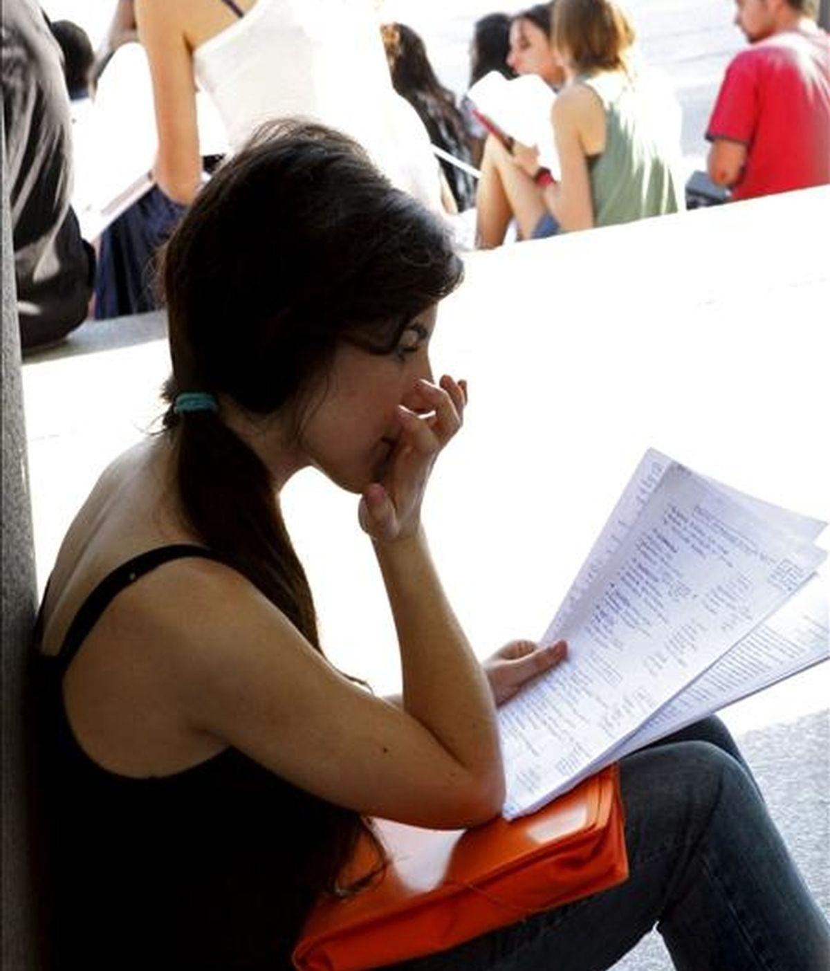 Una joven estudiante hace un último repaso de sus apuntes antes del examen de selectividad en Madrid, el pasado junio. EFE/Archivo
