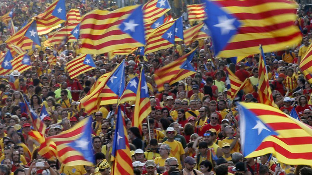Maniestación en Barcelona con motivo de la Diada de 2014