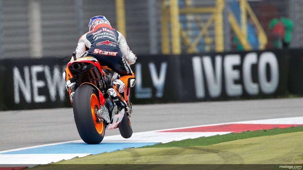 Casey Stoner en los primeros libres del GP de Holanda