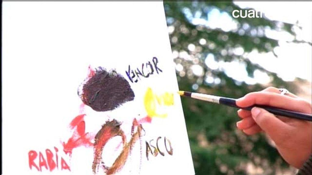 Andrea plasma en un lienzo lo que siente por su madre: Rabia, rencor, asco