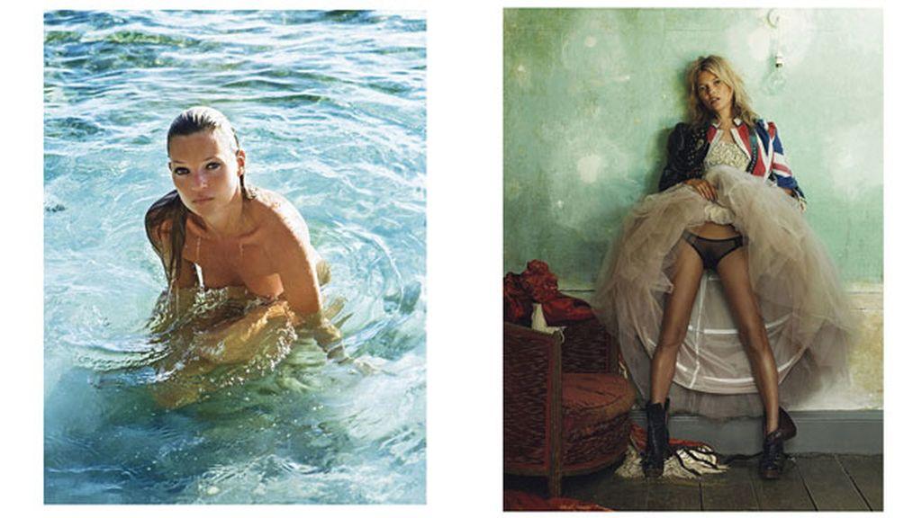 La fotografía de la izquierda fue tomada por Mario Sorrenti en el 2010, y la de la derecha la hizo Mario Testino en el año 2008, ambas para Vogue