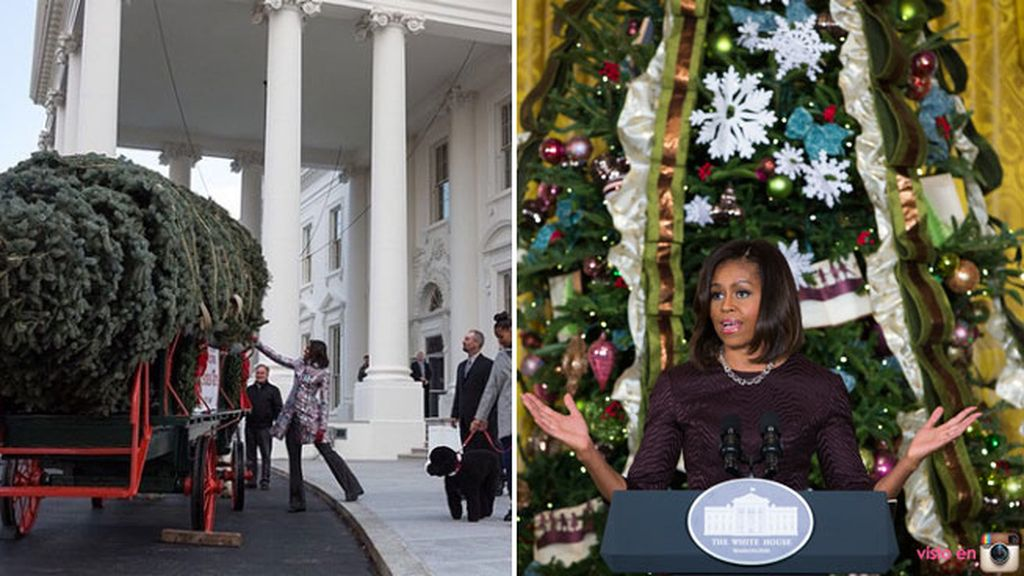 Michelle Obama decora la Casa Blanca con un gigantesco árbol