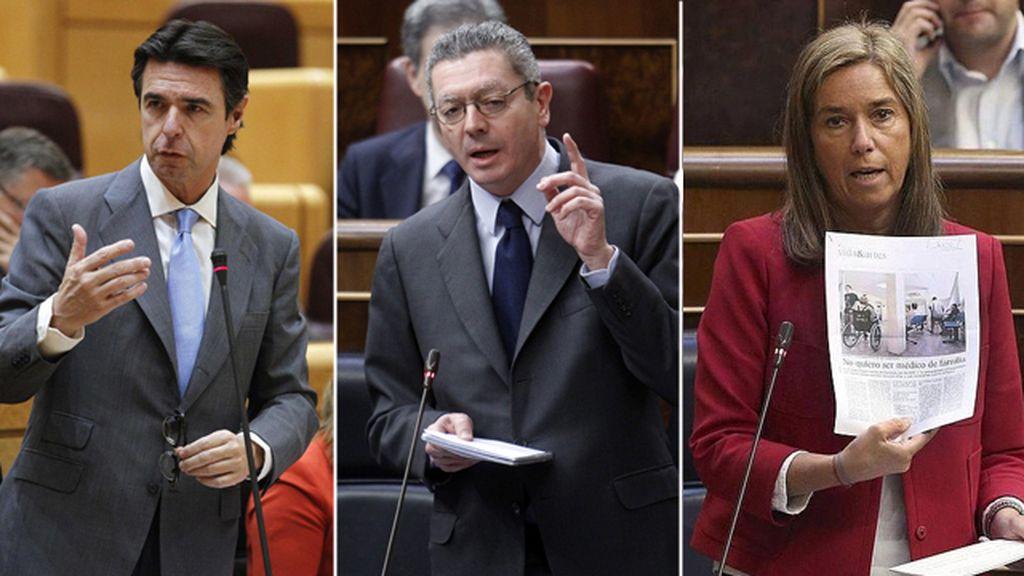 Combo de imágenes de José Manuel Soria, Alberto Ruiz-Gallardón y Ana Mato