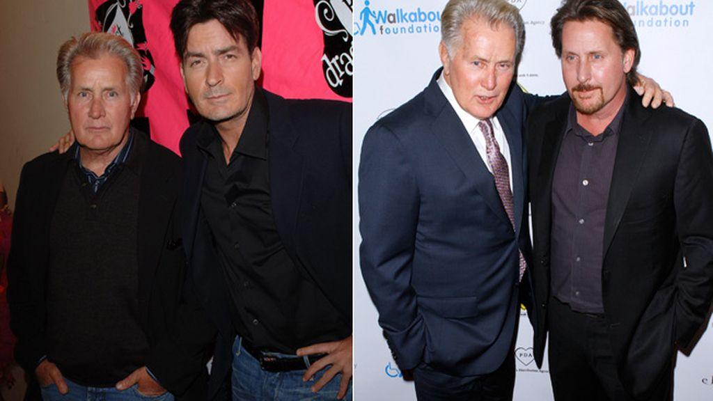 Martin Sheen con sus hijos, Charlie Sheen y Emilio Estevez