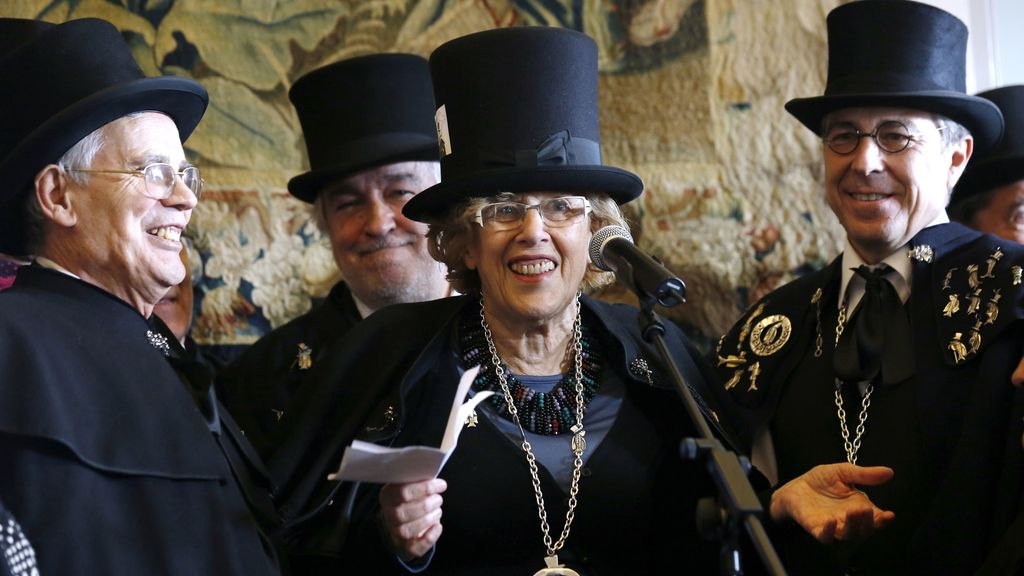 La alcadesa de Madrid, Manuela Carmena, tras recibir la 'sardina de plata'