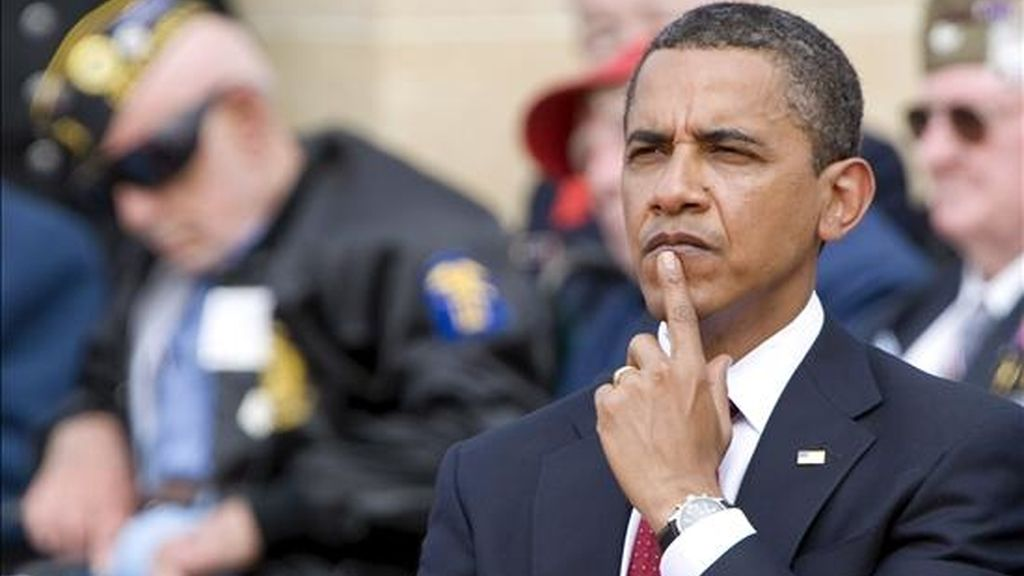 El presidente estadounidense, Barack Obama, durante la ceremonia de ayer en Colleville-Sur-Mer (Normandía, norte de Francia). EFE