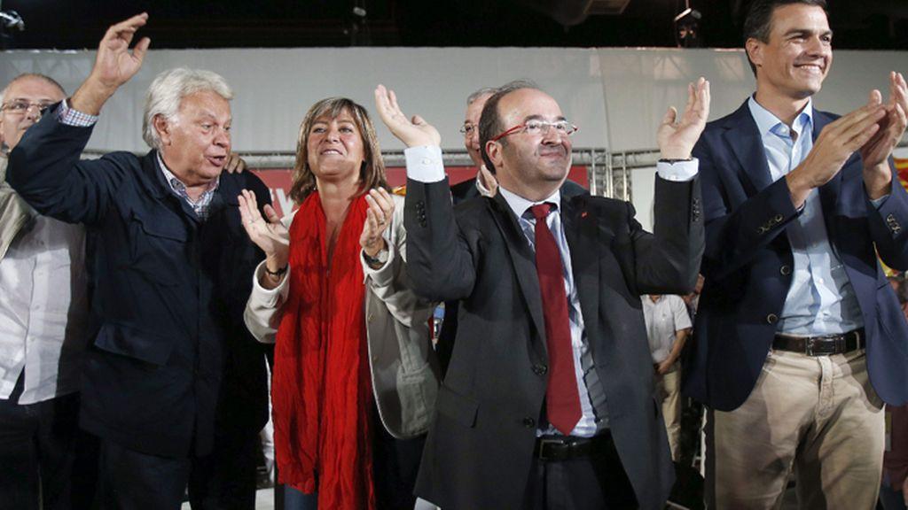 Felipe González y Pedro Sánchez participan en la campaña catalana