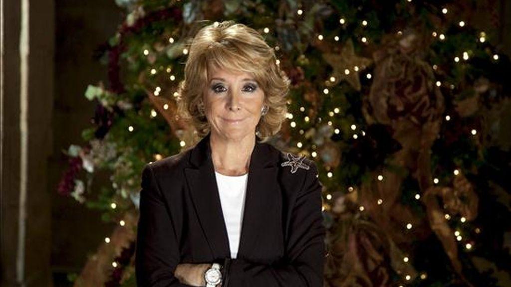 Fotografía facilitada por el Gobierno de la Comunidad de Madrid de la presidenta regional, Esperanza Aguirre, durante su tradicional mensaje de fin de año. EFE/Archivo