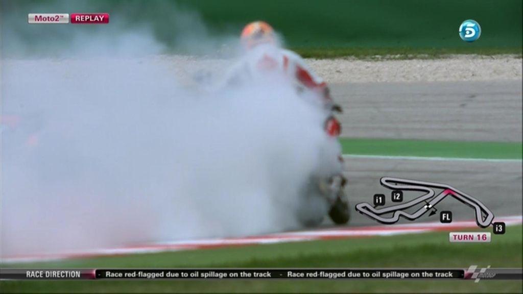 Gino Rea rompe su motor y provoca la suspensión provisional de la carrera de Moto2 en Misano